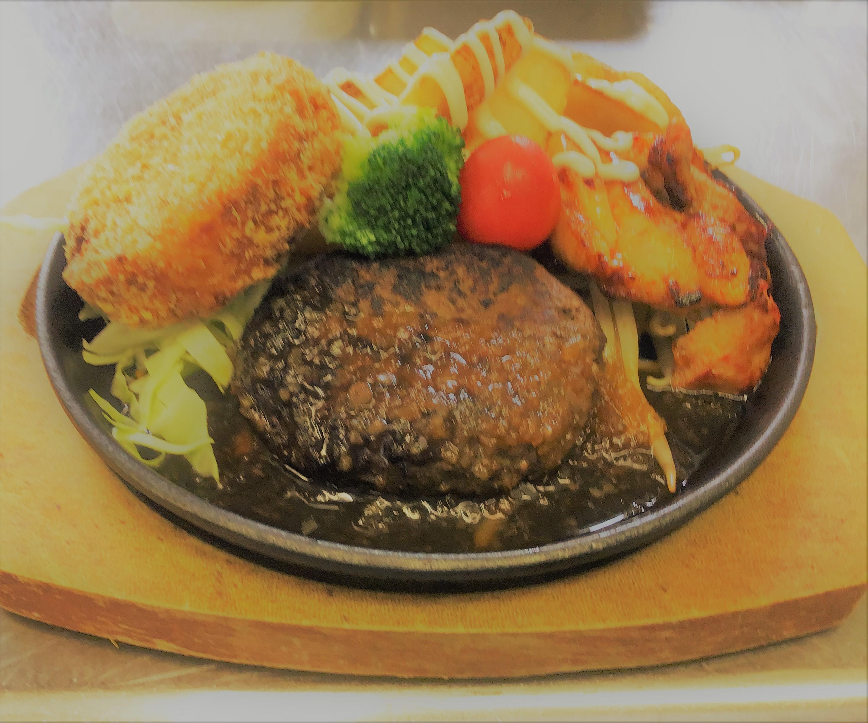 黒毛和牛の手作りハンバーグと阿波尾鶏の鉄板焼き